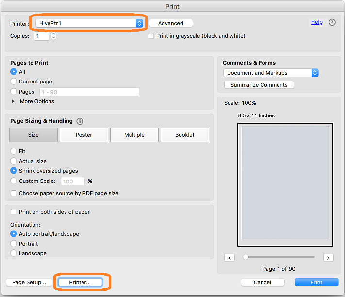 PDF printing from Adobe Acrobat (Mac)   Geography