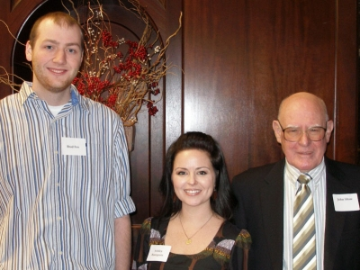 Brad Fox, Mathematics, & Ashley Bourgeois, English, winners of UKAEF Fellowships for 2014, with John Shaw, chair of the Fellowship Committee.